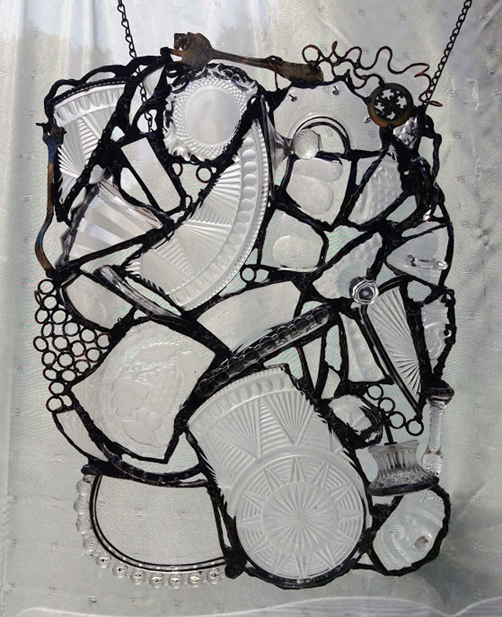 """CRYSTAL CLEAR ~ 19""""X14"""" Repurposed glass and hand-forged metals"""