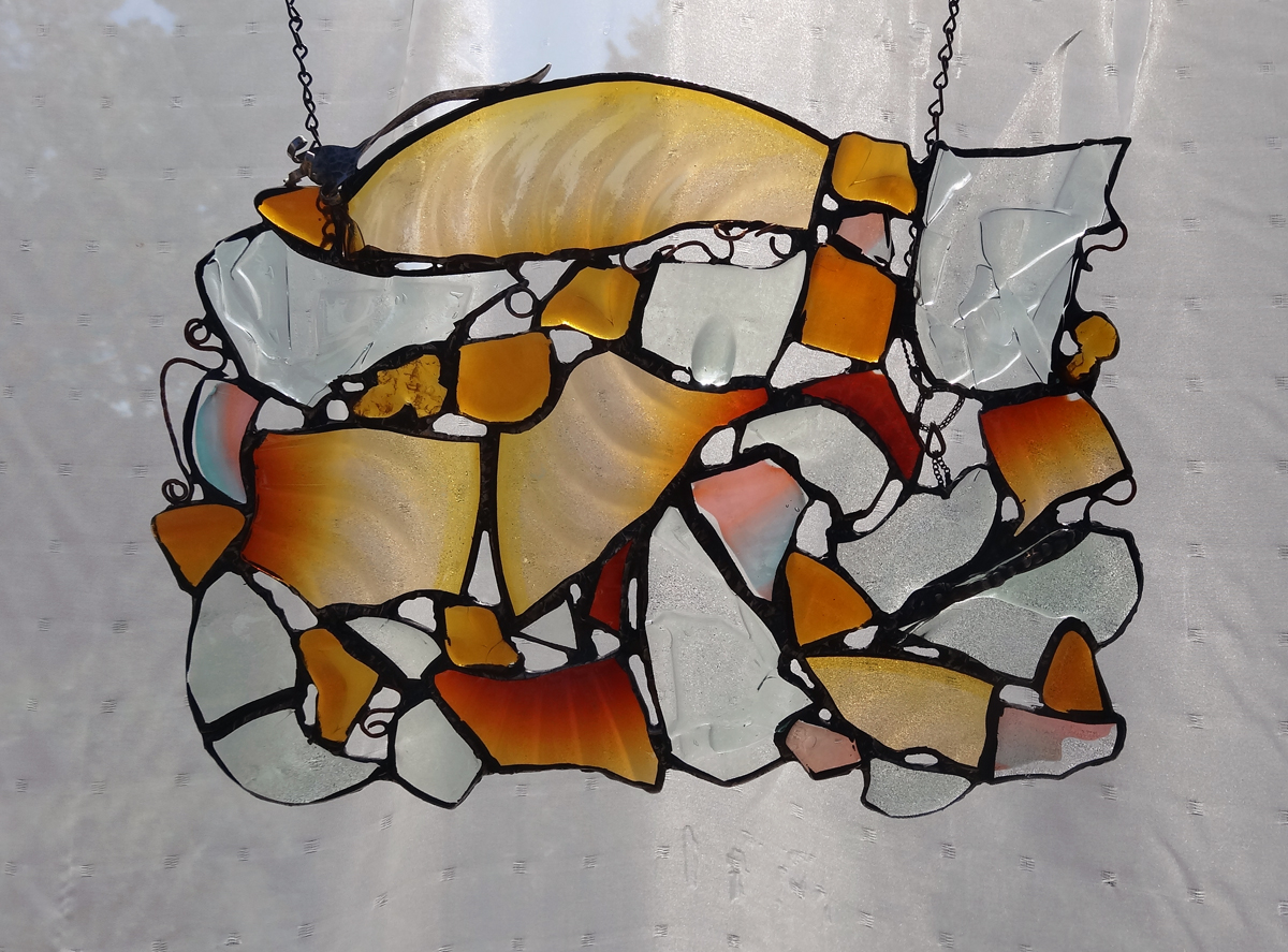 """MAGIC LIGHT ~ 13""""X18"""" Repurposed glass and hand-forged glass"""