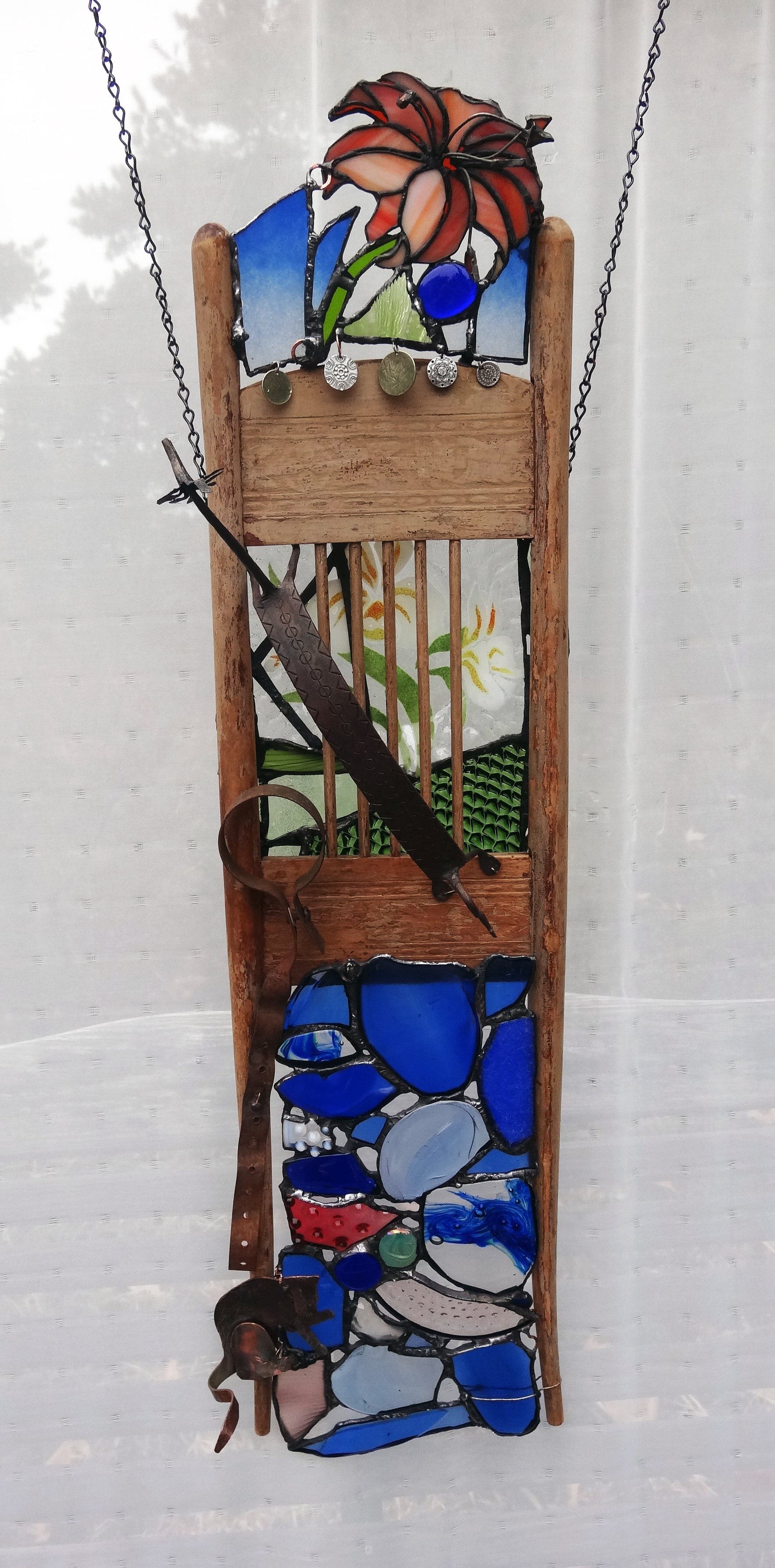 "FREE FROM CAPTIVITY ~ 36""x10"" Repurposed wood, glass and metals"