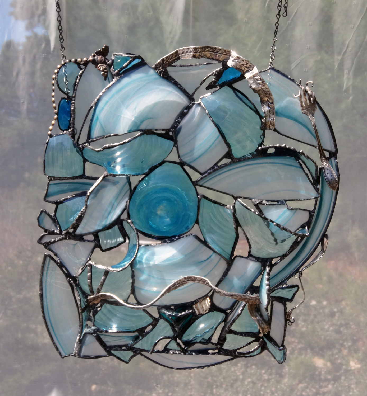 "EVALUTION ~ 20""X18"" Repurposed glass and hand-forged metals"