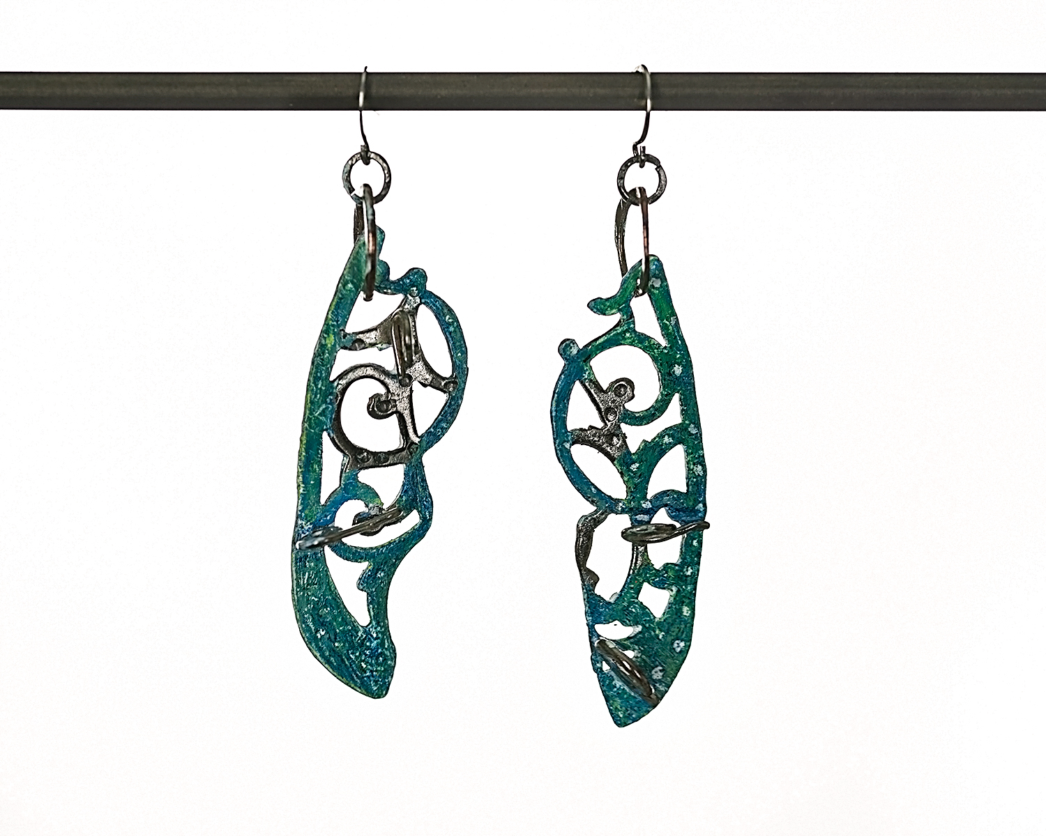 SOFT SUMMER EARRINGS ~ Repurposed hand-forged silver with colorized accent
