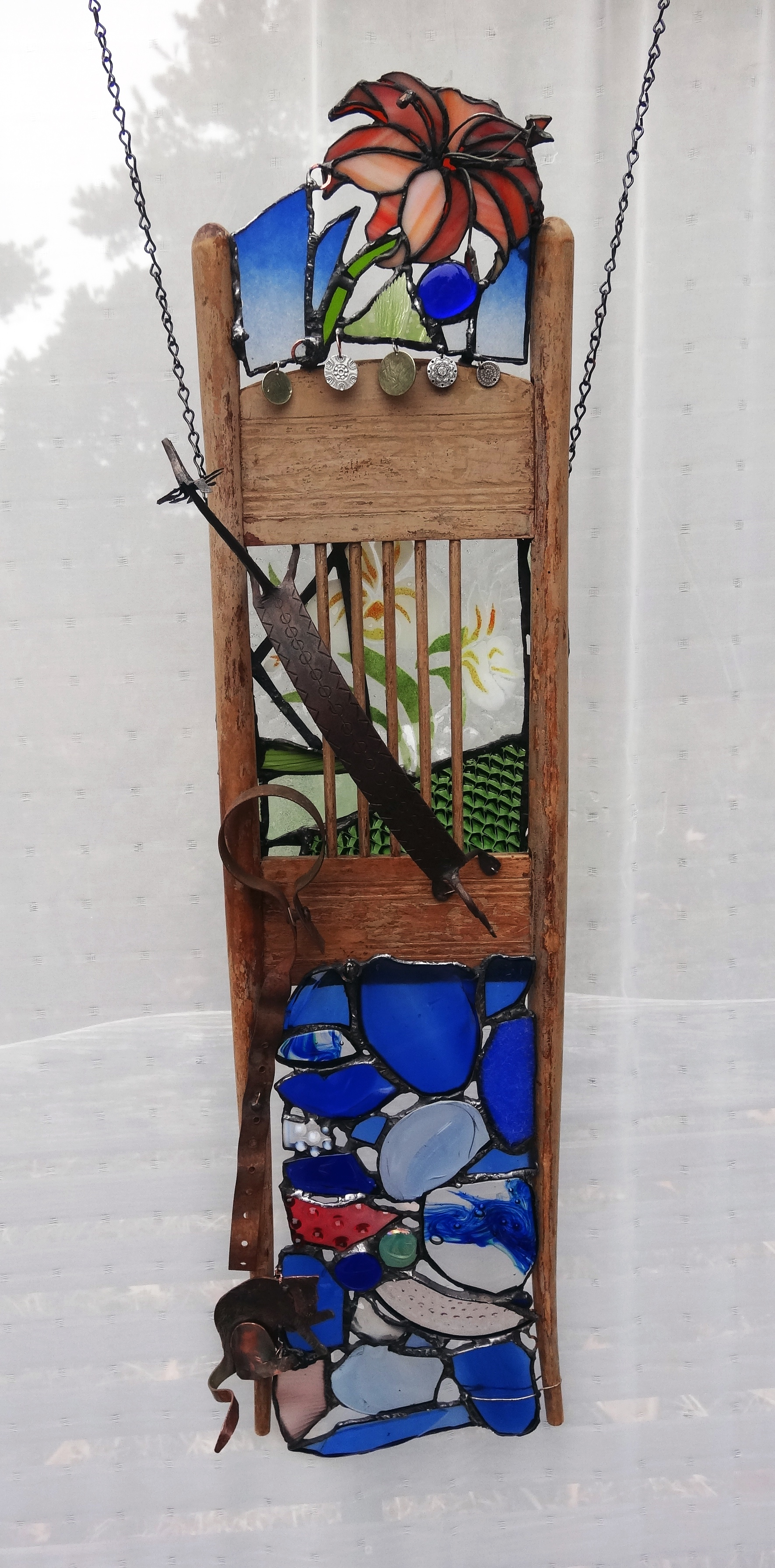"FREE FROM CAPTIVITY ~ 36""X10"" Repurposed wood, glass and metals (SOLD)"