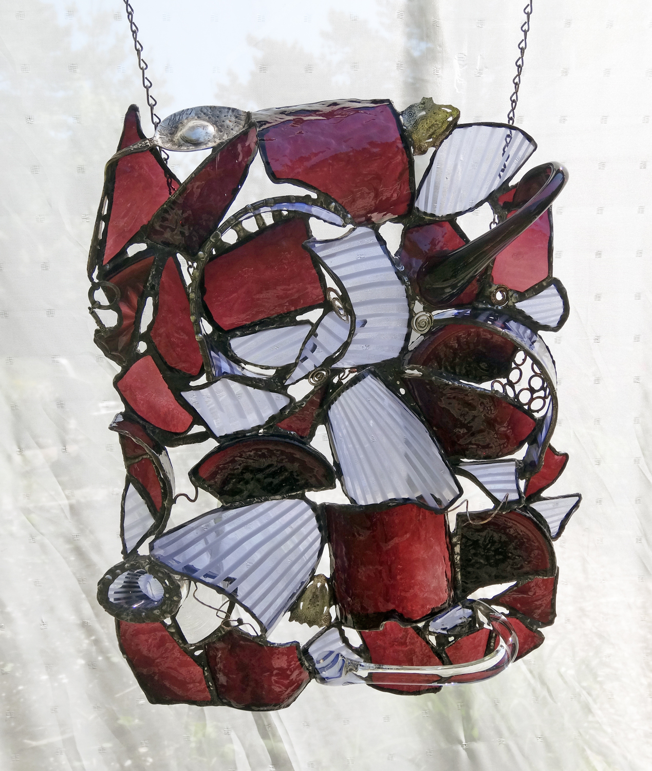 "MULBERRIES ~ 20""x14"" Repurposed glass and hand-forged recycled metals"