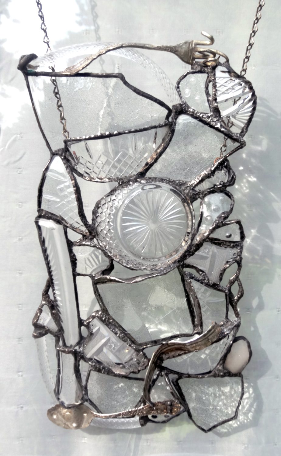 """ELEQUENT ~ 14""""X8"""" Repurposed glass and hand-forged recycled metals"""