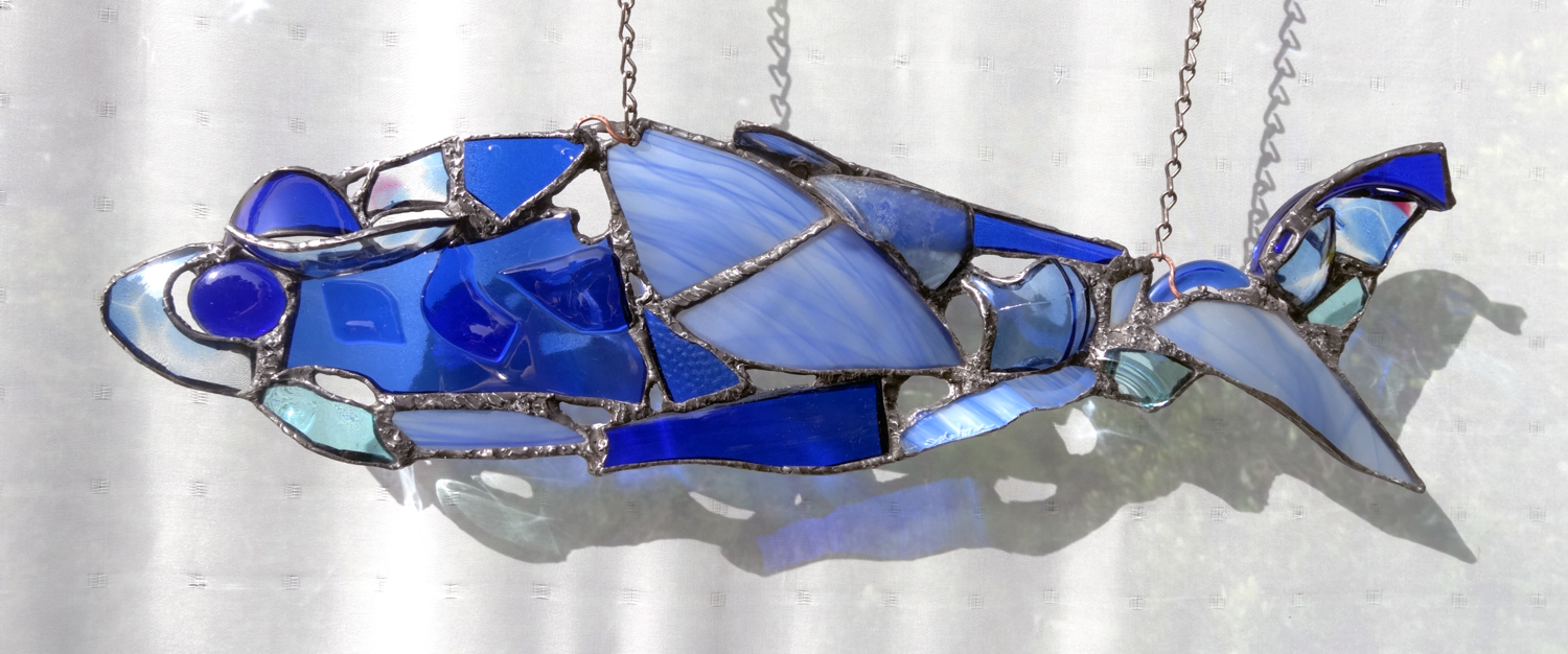 """BLUE EYED FISH ~ 6""""X22"""" Repurposed glass and hand-forged recycled glass"""
