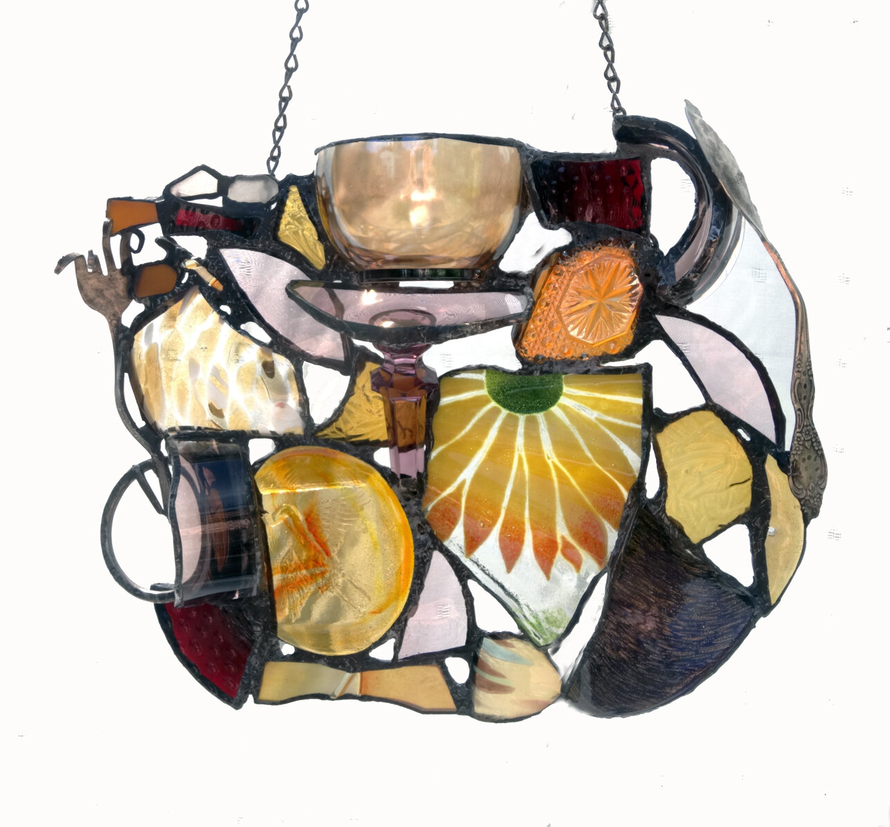 """COLLECTIONS ~ 10"""" x 12"""" Repurposed glass and recycled hand-forged metals"""