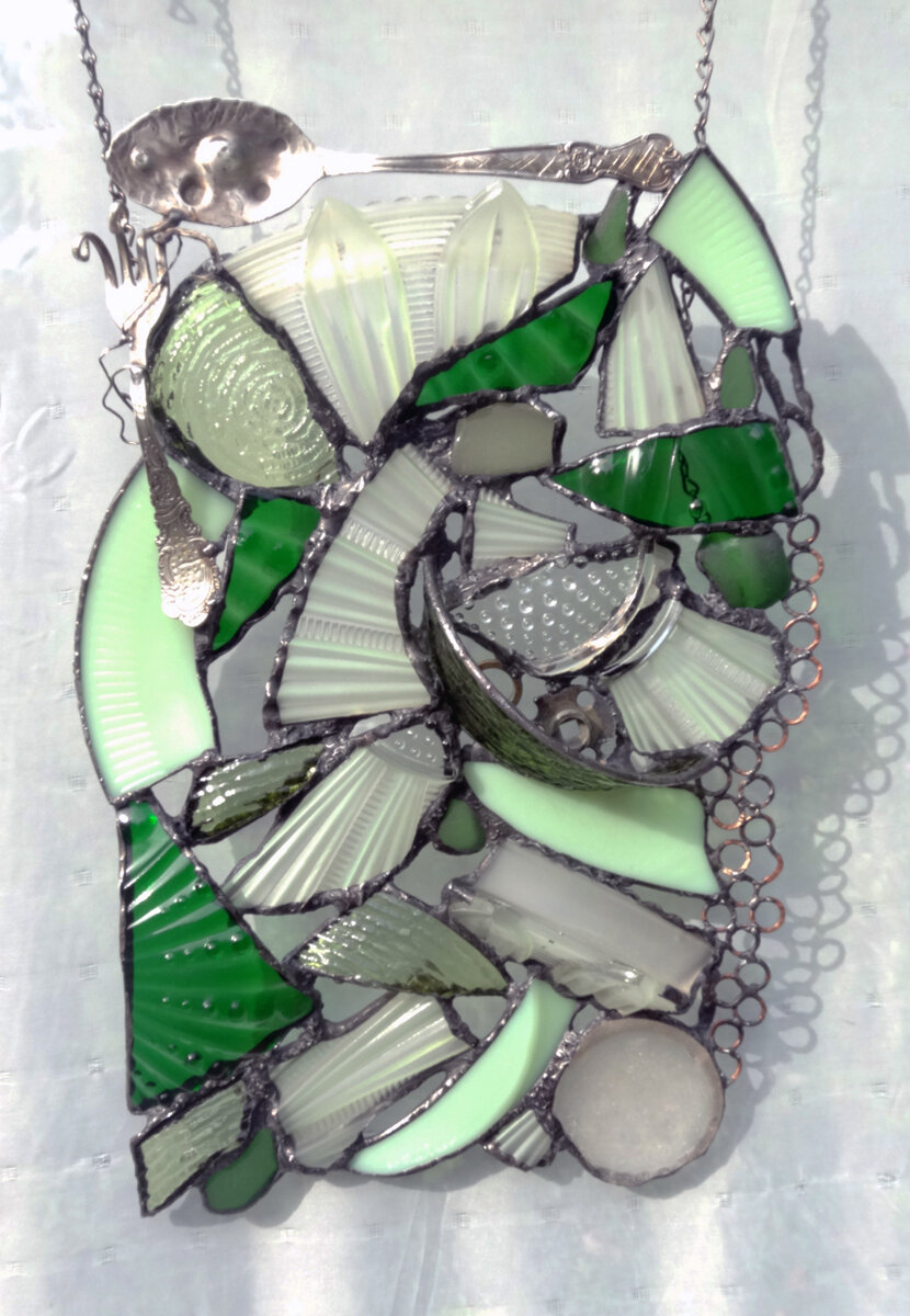 """EXPRESSIVE GREENS ~ 17"""" X 11"""" Repurposed glass and recycled hand-forged metals"""
