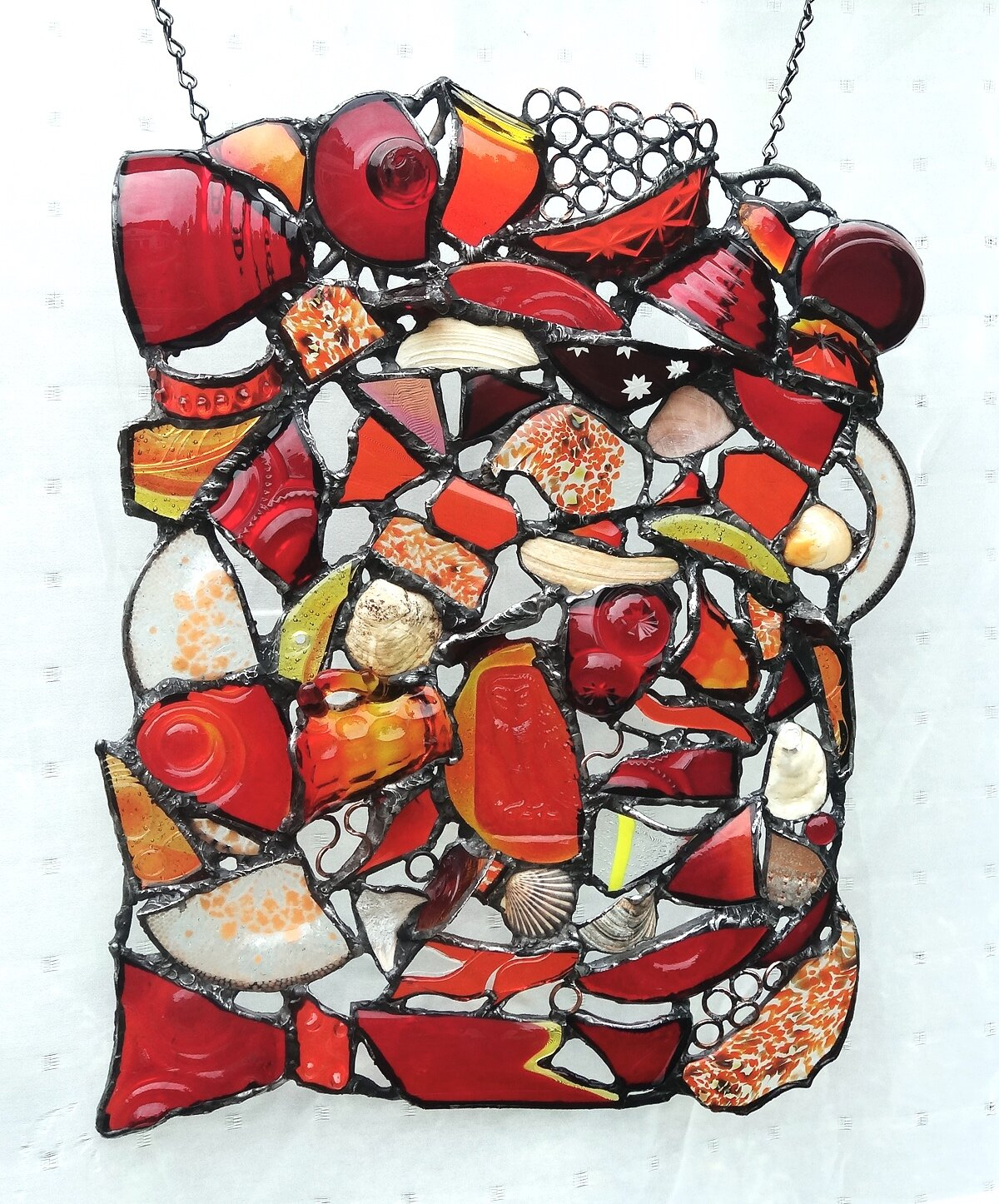 """ENERGY ~ 17""""X14"""" Repurposed glass and hand-forged metals"""