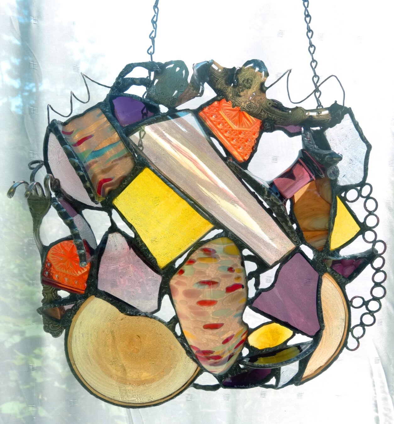"""MARSH LIGHT ~ 14""""X14"""" Repurposed glass and hand-forged recycled metals"""