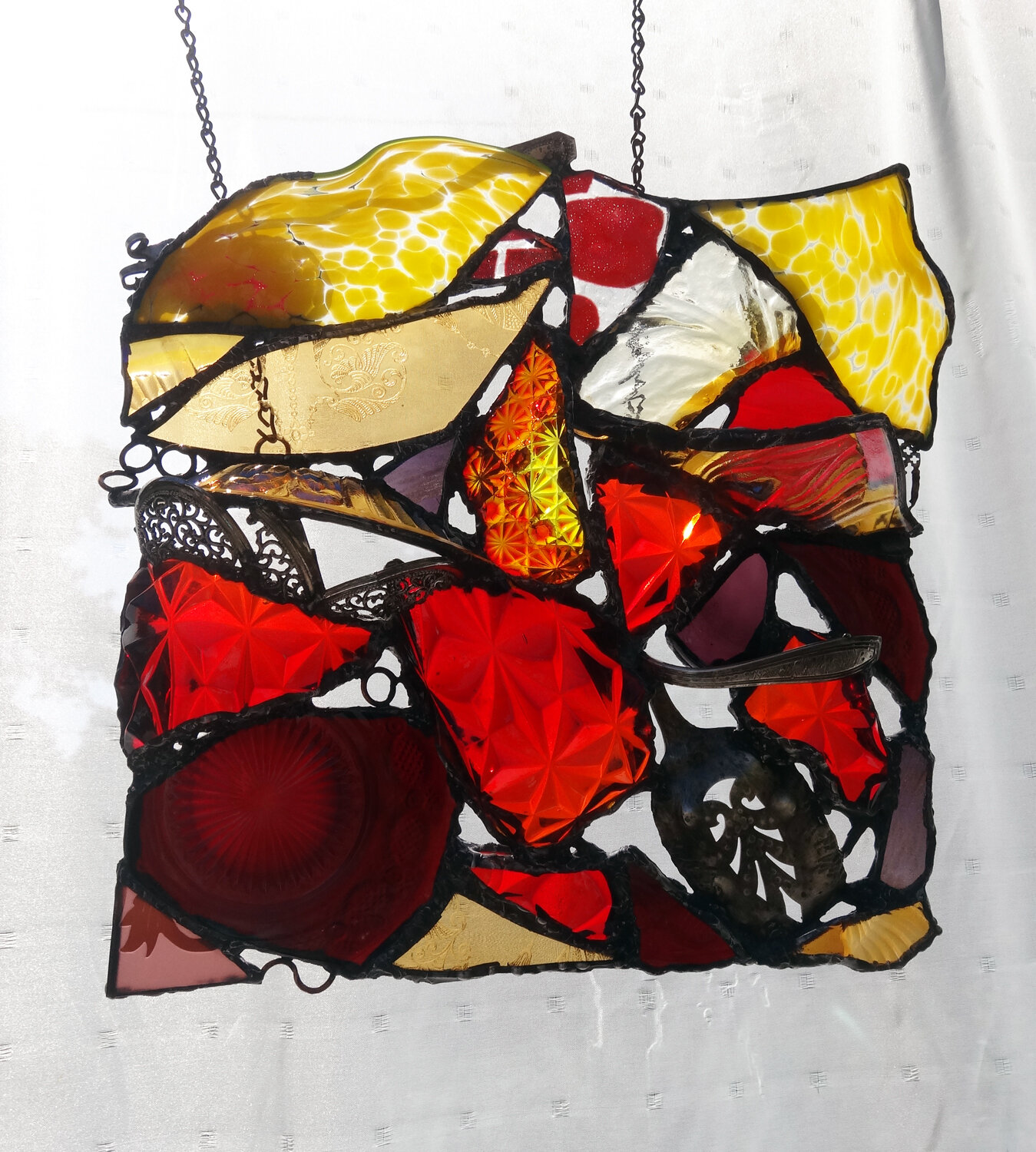 """AUTUMN BEAUTY ~ 12"""" X 12"""" Repurposed glass and hand-forged recycled metals"""