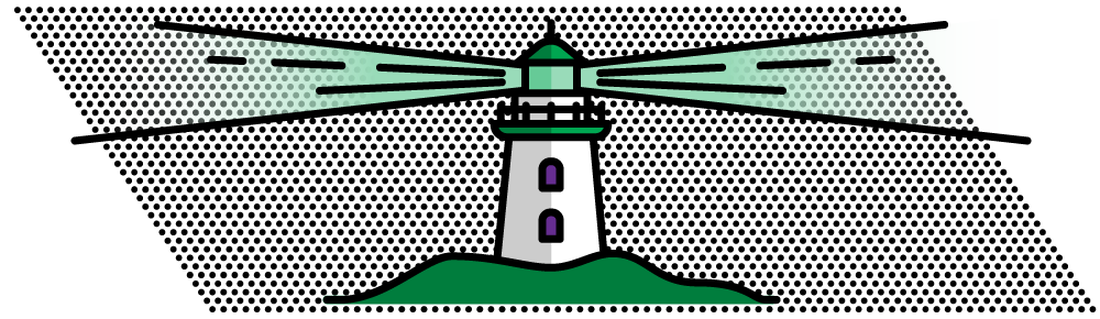 lighthouse illustration in green