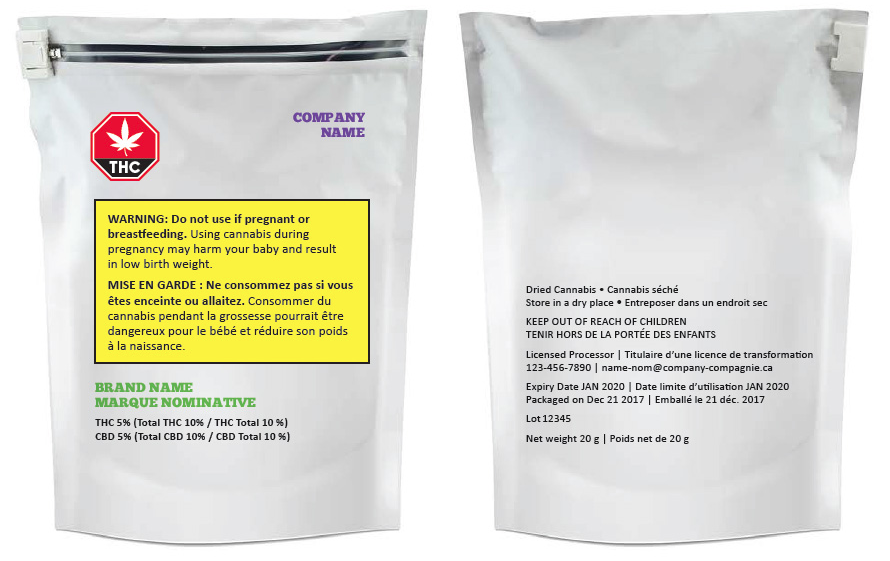 Examples provided by Health Canada of cannabis packaging that is acceptable under its proposed guidelines.