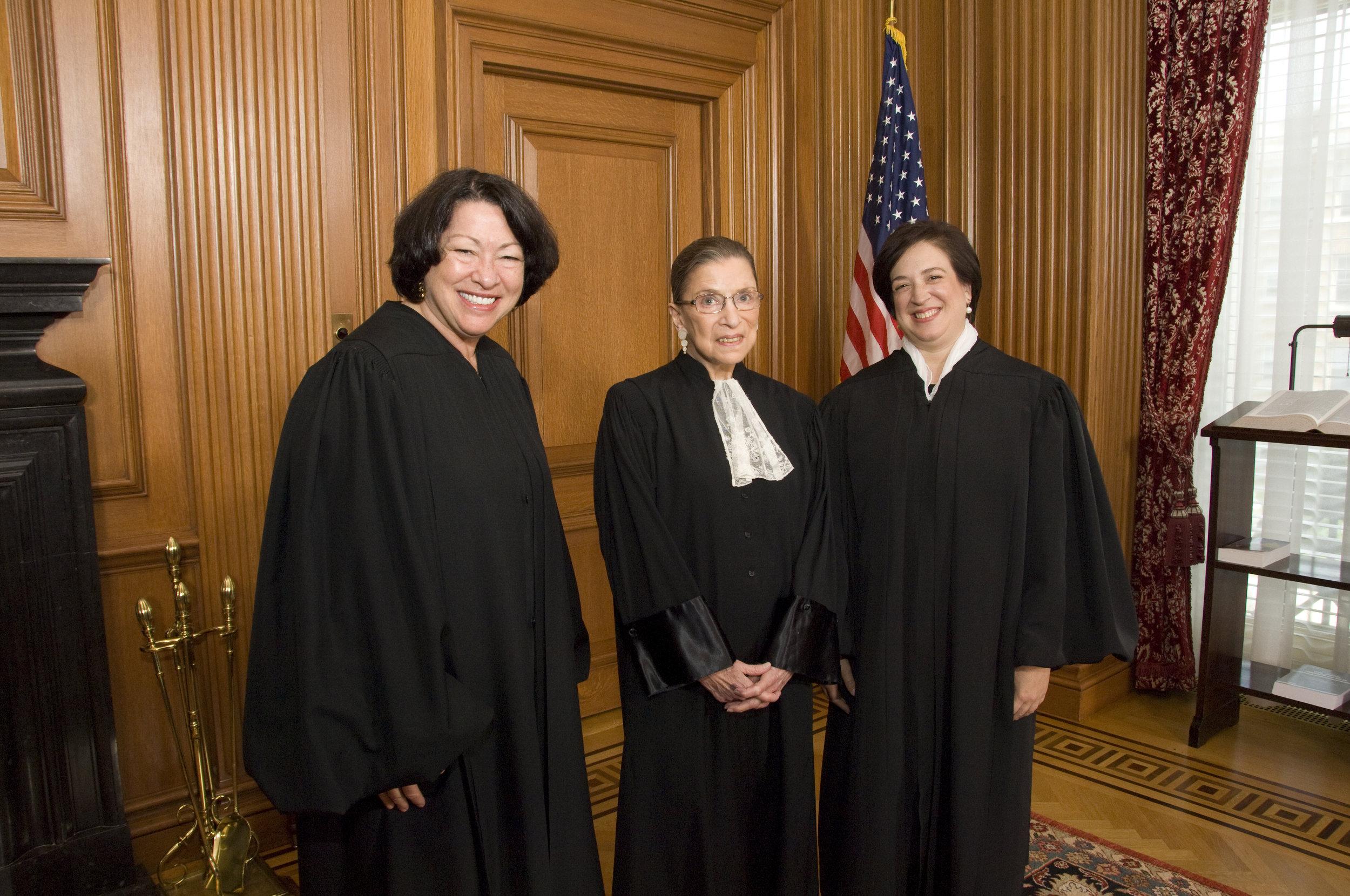 Supreme Court Justices Sonia Sotomayor, Ruth Bader Ginsburg and Elena Kagan (Photo: Steve Petteway /   Wikimedia   )