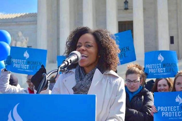 Christina Marie Bennett leads a pro-life rally outside the U.S. Supreme Court (Photo via Christina Bennett)