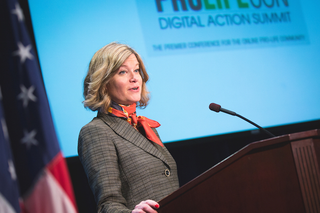 Jeanne Mancini, president of the March for Life Education and Defense Fund, speaks at a pro-life summit prior to the annual march on January 22, 2016 (Photo: Aaron Wong for Bound4LIFE International)