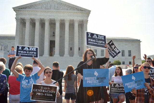 Outside the Supreme Court, Kristan Hawkins leads a pro-life rally on June 27, 2016 (Photo: Students for Life of America)