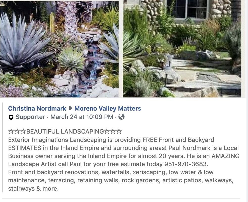 Paul Nordmark, Landscaping