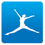 My Fitness Pal blue and white jumping logo