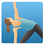 Pocket Yoga logo - blue background with woman stretching