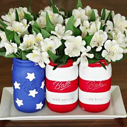 American flag beer can flower planter for Independence Day Fourth of July