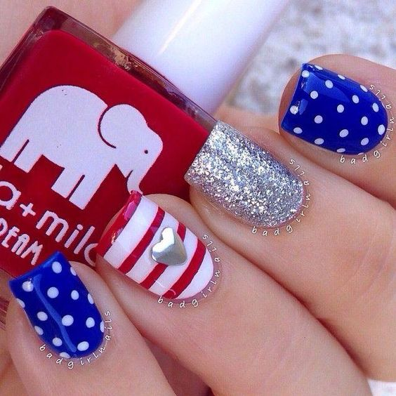 American flag nail polish red white and blue for Independence Day Fourth of July