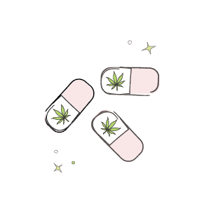 Marijuana pills illustration