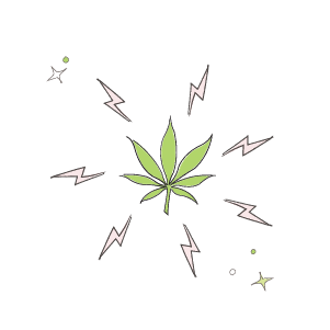 marijuana THC CBD inflammation relief lightning bolt illustration