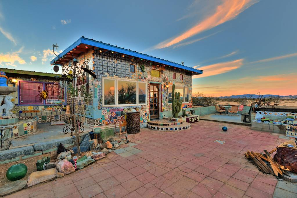 Tile House AirBnb in Twentynine Palms California with Mexican tile Perry Hoffman ceramics fused glass and stained glass