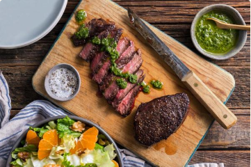 Pan-Seared Steaks with chimichurri & citrus-walnut salad - Dairy-Free, Gluten-Free, Paleo, Soy-Free