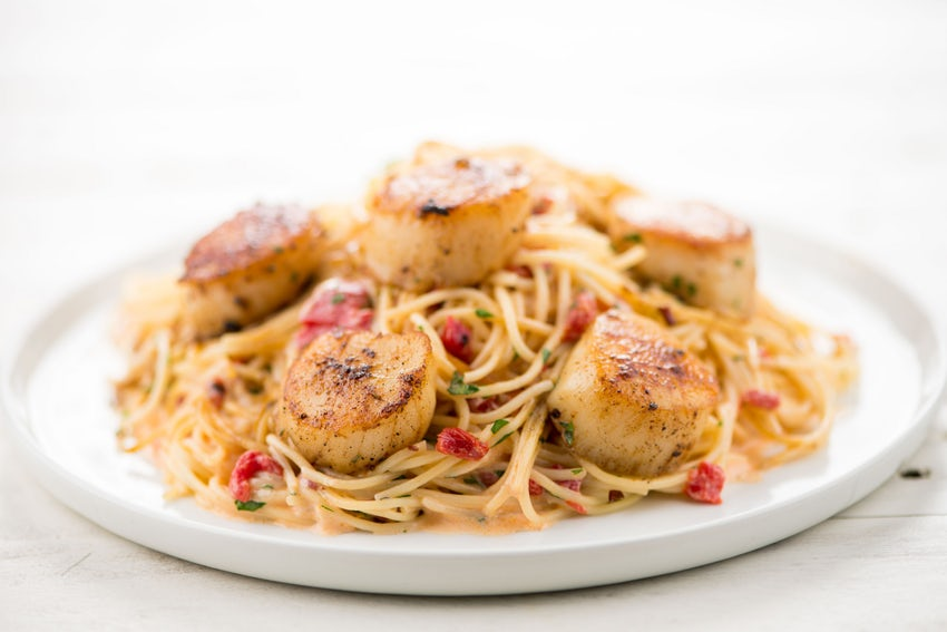 Blackened Scallop Pasta - With red pepper cream