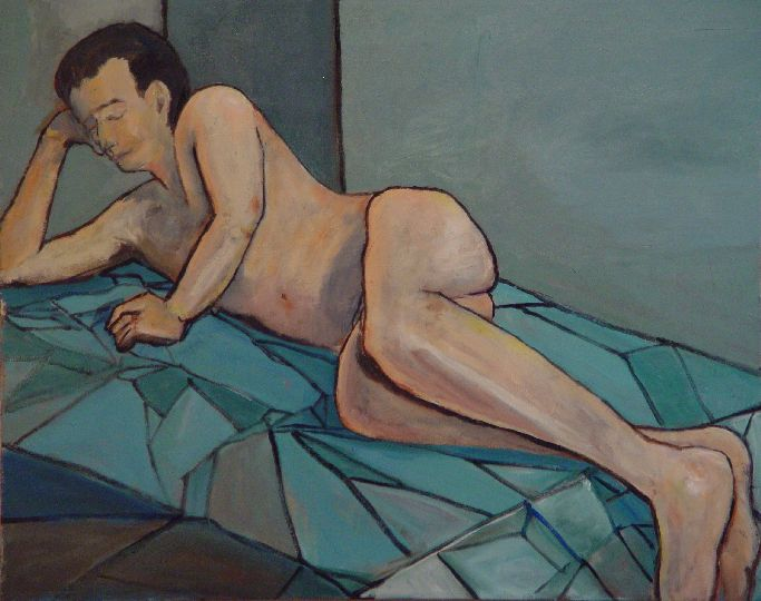 Nude Male On Blue Coverlet
