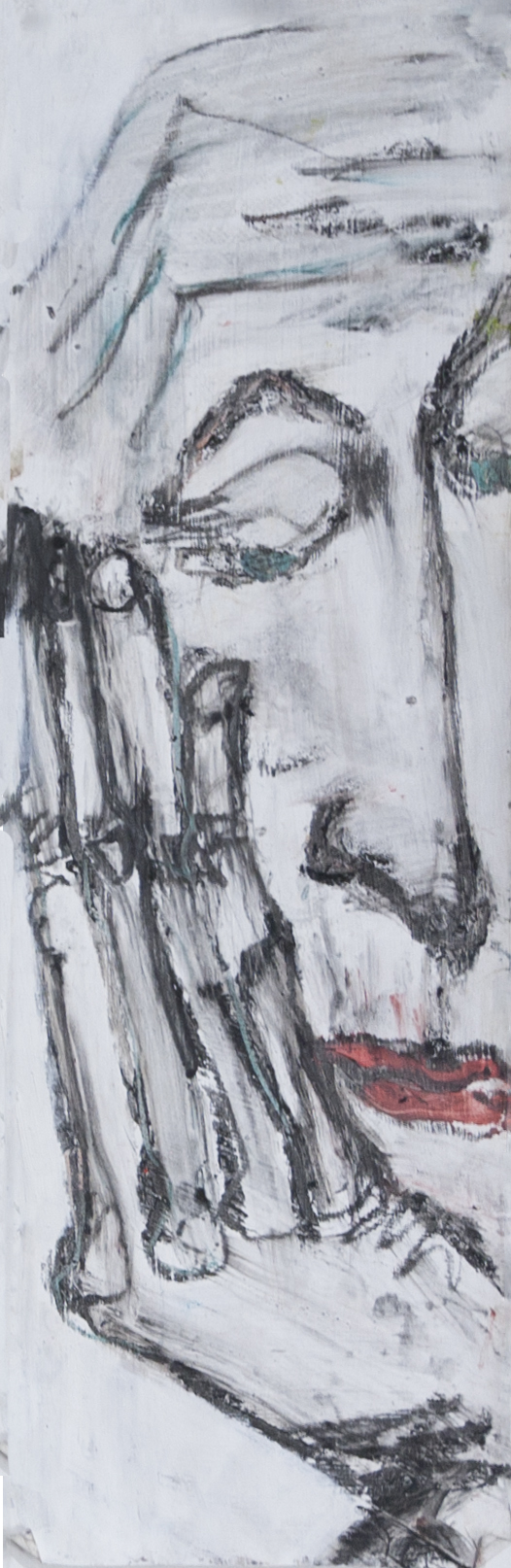 "Nancy Rosen 6""x18"" Mixed media on paper"