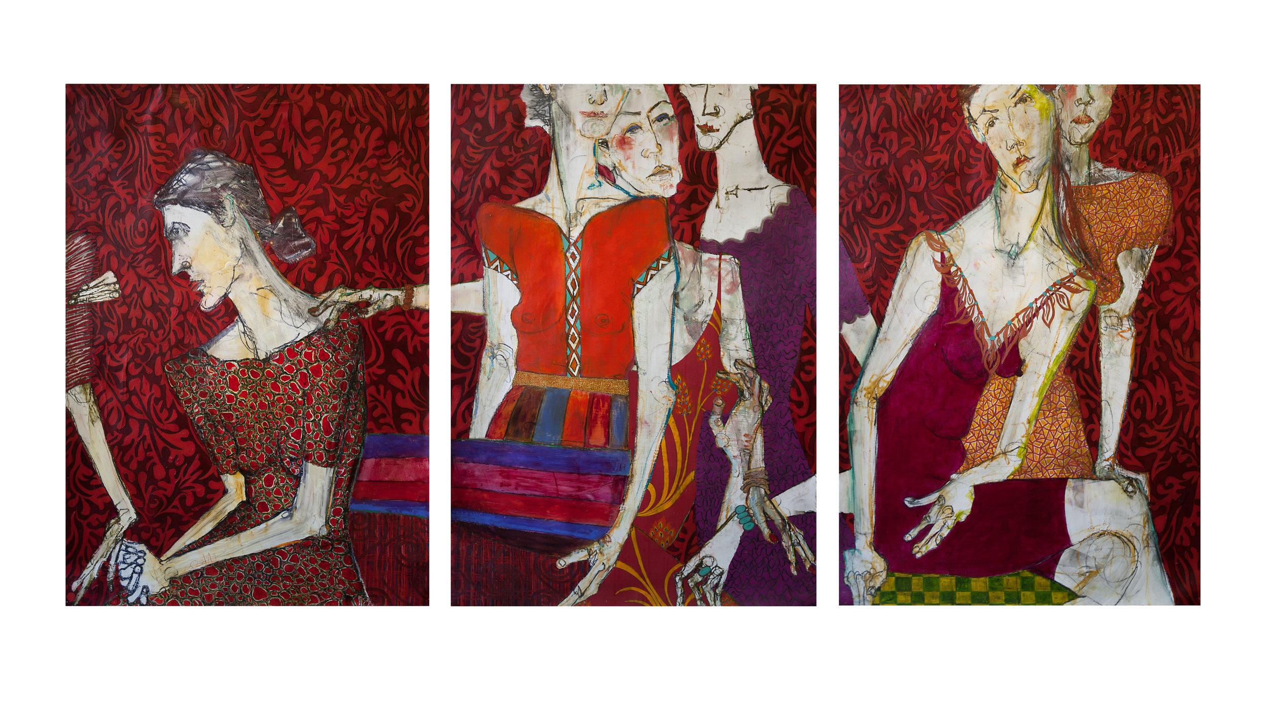 "Nancy Rosen 30""x44"" (triptych) Mixed media on paper"