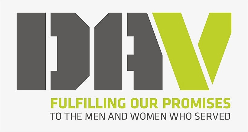 """Photo description: DAV logo. D.A. is in grey lettering, and the V is green. Under this states: """"Fulfilling our promises to the men and women who served."""""""