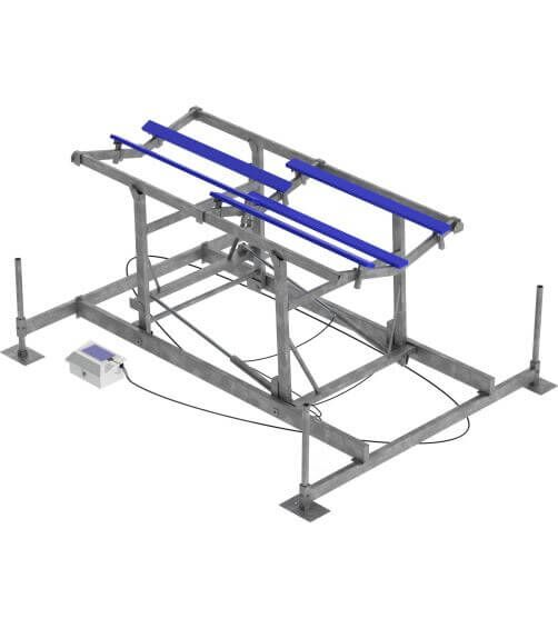 BOATS UP TO 32'  12,000 lb Capacity Lift | Available with 64″Vertical Lift  Four fully adjustable bunks provide 14′ of support down each side of the hull along with an additional keel board support.