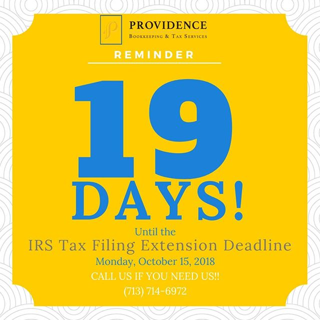 Tick tock goes the clock. 19 more days until the IRS Tax Extension Deadline is here! Call Providence for help. Not much time left! #providenceislike #smallbusiness #taxprep