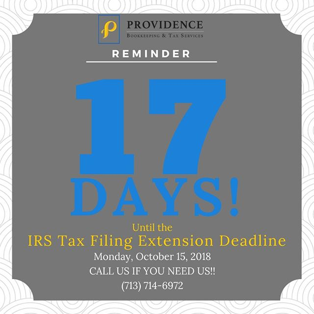 17 days left you guys! That's only two and the half weeks. We hope you've been working to meet the tax extension deadline. #providenceislike #smallbusiness #taxprep