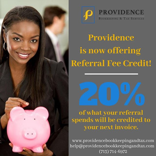 Don't forget that Providence is now offering referral fee credit! 20% of what your referral spends will be credited toward your next invoice.  #providenceislike #smallbusiness #entrepreneur