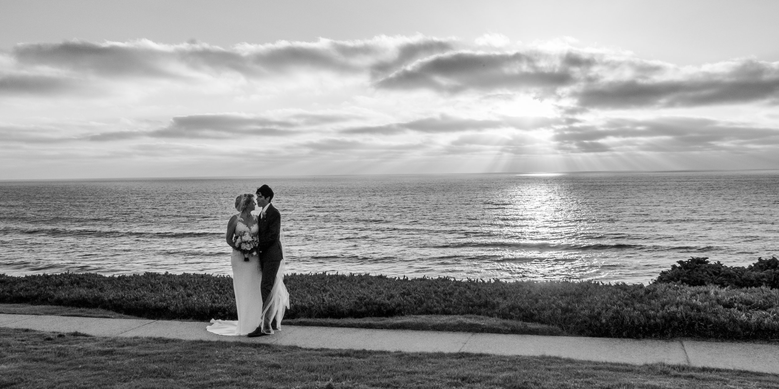 Marriage at sunset in Carlsbad, CA.