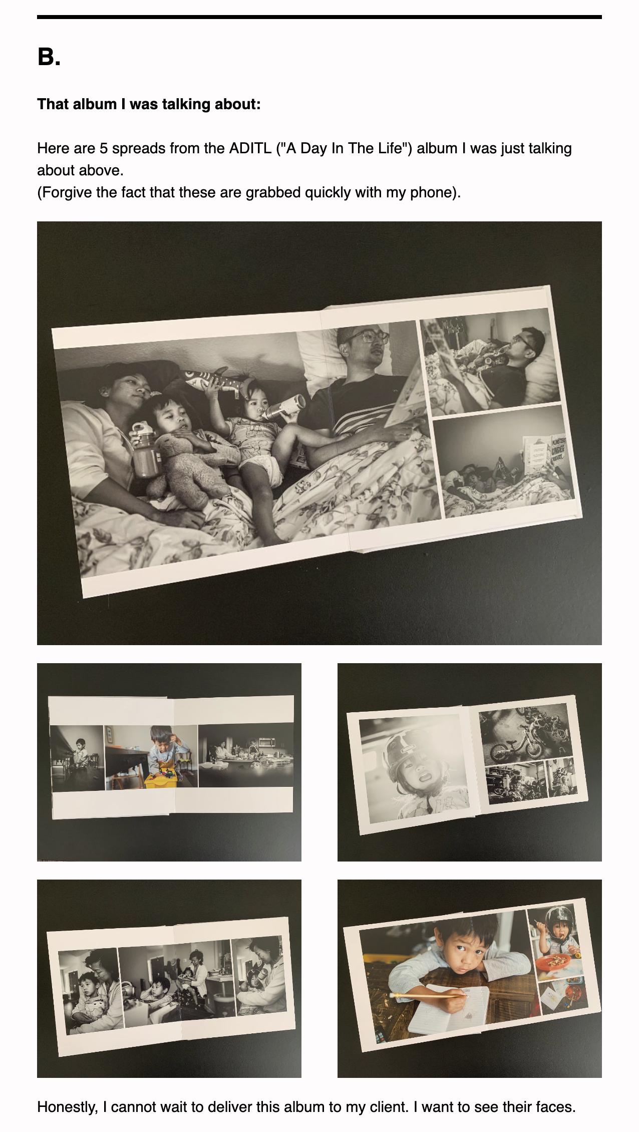 Episode 5 of Antoine's newlsetter - family documentary photography