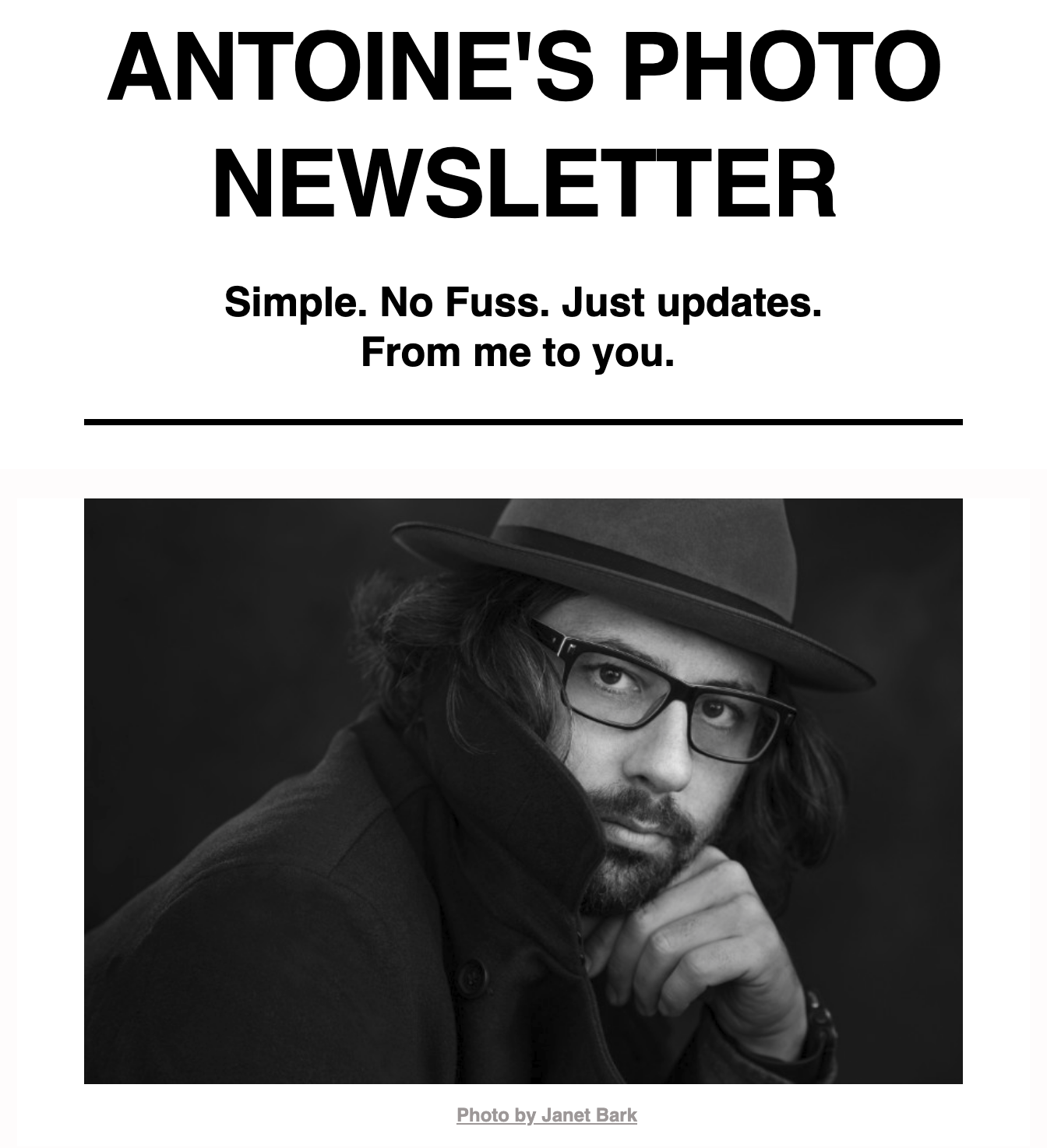 Episode 1 of Antoine's newsletter