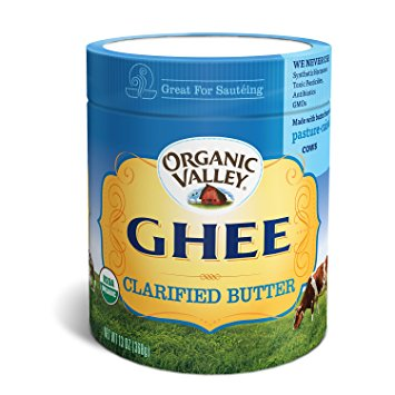 Organic Valley Ghee Clarified Butter    About the product  One 13oz jar of Organic Valley Ghee, Clarified Butter  Grass fed from pasture-raised and hormone-free cows, no antibiotics  USDA Organic, gluten free, non-GMO, and Kosher with no artificial colors, preservatives, antibiotics, or synthetic hormones.  Clarified butter that's prized for its delicious flavor, nutritious omega-3s and CLA, and versatility in the kitchen  Excellent substitute for cooking oil or butter
