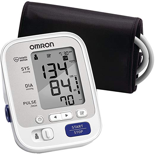 Omron Blood Pressure Monitor    Omron blood pressure monitors are the #1 recommended brand by doctors and pharmacists for clinically-accurate home blood pressure monitoring, and the #1 selling manufacturer of blood pressure monitors for over 40 years  Two users can store and review last 50 readings each (total 100 reading memory with date and time stamps). Automatically displays the average of your last 3 readings taken within 10 minutes  Note-blood pressure varies constantly due to many factors including stress, time of day, and how you wrap the cuff, may affect your blood pressure. Review the sections before taking a measurement and taking a measurement  Compares your readings with normal home blood pressure levels while also monitoring for irregular heartbeats. The monitor will not inflate above 299 mmHg