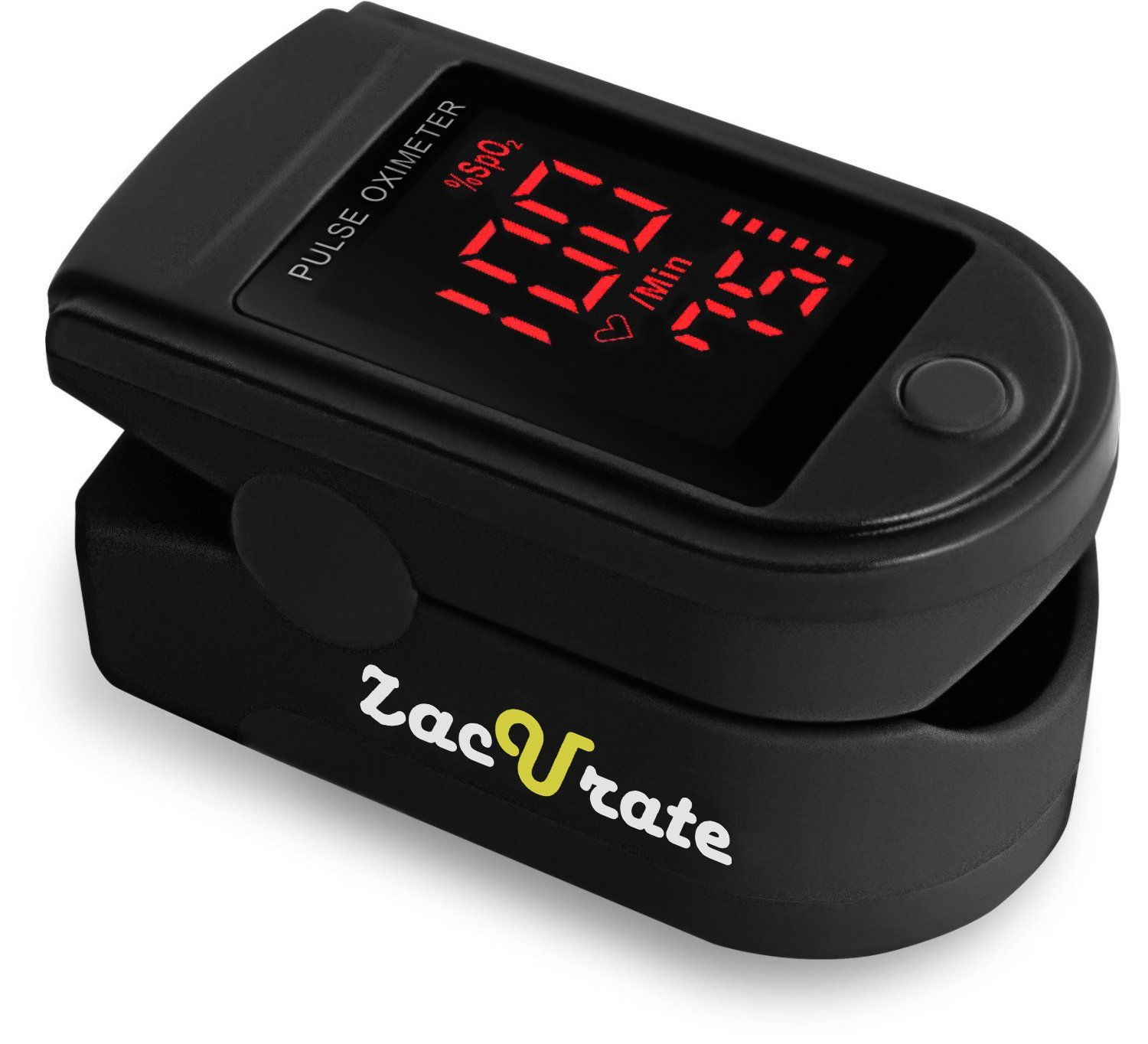 Zacurate Pro Series 500DL Fingertip Pulse Oximeter Blood Oxygen Saturation Monitor with silicon cover, batteries and lanyard (Mystic Black)    ACCURATE AND RELIABLE - Accurately determine your SpO2 (blood oxygen saturation levels), pulse rate and pulse strength in 10 seconds and display it conveniently on a large digital LED display.  SPORT/HEALTH ENTHUSIASTS - For sports enthusiasts like mountain climbers, skiers, bikers or anyone interested in measuring their SpO2 and pulse rate. SpO2 and Pulse Rate now faces instead of away from the user for easy read.  PRO SERIES -Manufactured according to CE and FDA standards for pulse oximeters used by doctors and other health professionals. The ONLY LED pulse oximeter that can read and display up to 100% for SpO2 value.  SUITABLE FOR ALL AGES - Finger chamber with SMART Spring System. Accommodates wide range of finger sizes.
