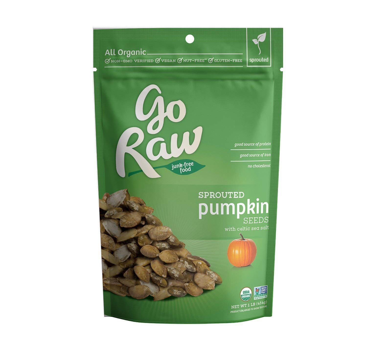 Go Raw Sprouted Pumpkin Seeds With Celtic Sea Salt   PLANT-BASED NUTRITION: 7g protein per serving, an excellent source of antioxidants, micronutrients such as Magnesium, Zinc, Copper, Manganese, and Phosphorus, and a good source of Iron.  PERFECT SNACK FOOD: a tasty alternative to nuts for plant-based protein and energy; great in trail mixes, as an on-the-go snack, and eaten right out of the bag.  SIMPLE ORGANIC INGREDIENTS: made with only 2 simple ingredients; also non-GMO, gluten-free, nut-free, dairy-free, soy-free, vegan, and kosher.  MINIMALLY-PROCESSED: seeds are sprouted and gently dried—never roasted or fried—which gives them a light, crunchy texture and great-tasting flavor.