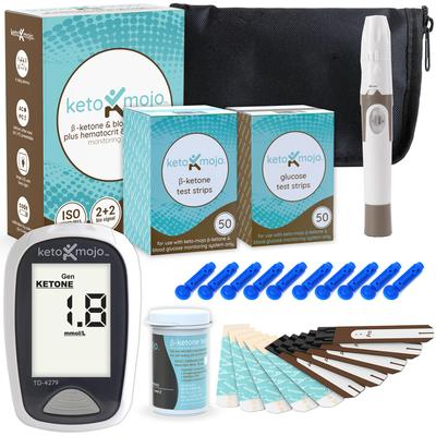 Keto Mojo    The Ketonian Special kit includes the keto-mojo ketone and glucose meter, 10 ketone strips, and the accessory bag with a lancet device and 10 lancets.