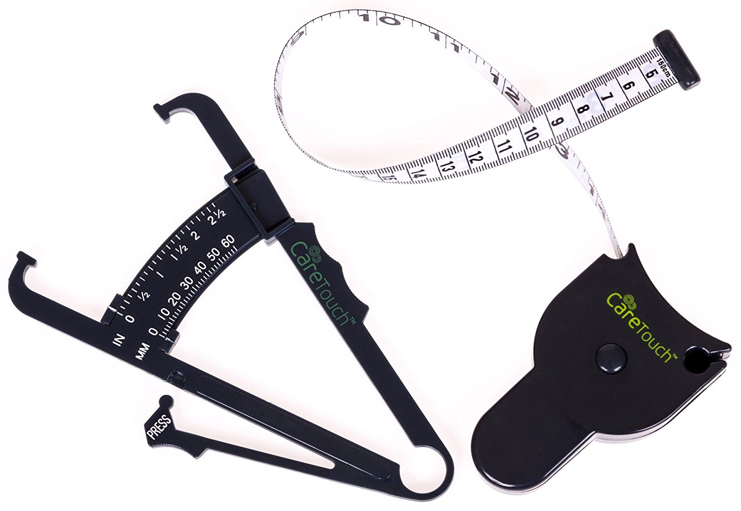 Skin Fold Body Caliber Set    FULL SET - This set includes a Care Touch Caliper Tool, Care Touch Measure Tape and Measurement Chart for men and women  ACCURATE BODY FAT READING - Measure your body fat by gauging your skinfold thickness and not based on your weight or height  FAST RESULTS - Get quick and accurate results in just 3 quick steps. Pinch. Click. Read  EASY TO READ - Check your results on our measurement chart. Just match the results from the caliper tool with your age and get the results.
