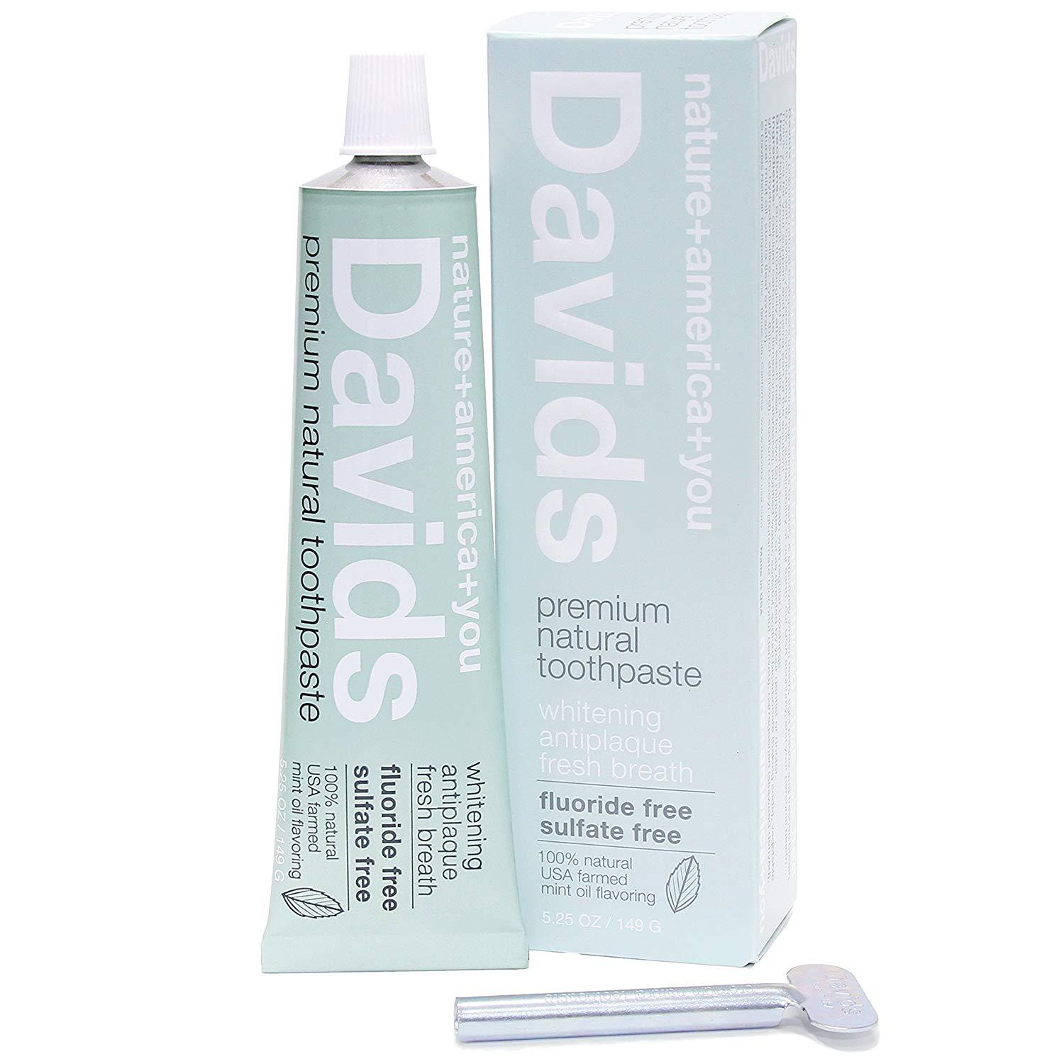 Davids Premium Natural Toothpaste - Rated a 1 on EWG    Natural Toothpaste To Safely & Effectively Whiten Teeth, Remove Plaque, And Freshen Breath. Smooth & Creamy, Non-Gritty. Blend Of Premium Domestic Mint Oils For Exceptional Flavor.   EWG VERIFIED, 98% USA ORIGIN Ingredients For Superior Quality And To Support USA Jobs.   Fluoride Free, SLS Free, Sulfate Free, Vegan, Includes Xylitol For Healthy Enamel. Kid-Friendly - Kids Love It Too.  Recyclable Metal Tube & FSC Certified Packaging. Free Metal Tube Key Roller/Squeezer Included.