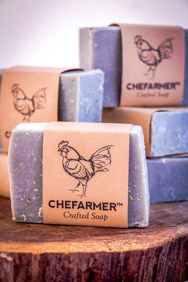 Epiphany Farms-made Chefarmer Soap    - $4.50/bar   This season's batch of Epiphany-Farms-made Chefarmer Soap is ready and available at all locations! This all-natural soap smells / feels lovely and makes a great stocking stuffer.  Ingredients: Lard, Caster Oil, Oatmeal, Kaolin Clay, Aloe Vera, Activated Charcoal, Lemon Eucalyptus & Spearmint Essential Oils.  $4.50/bar. Available at Epiphany Farms Restaurant,  Anju Above ,  Bakery and Pickle , and  Old Bank Restaurant & Bar .