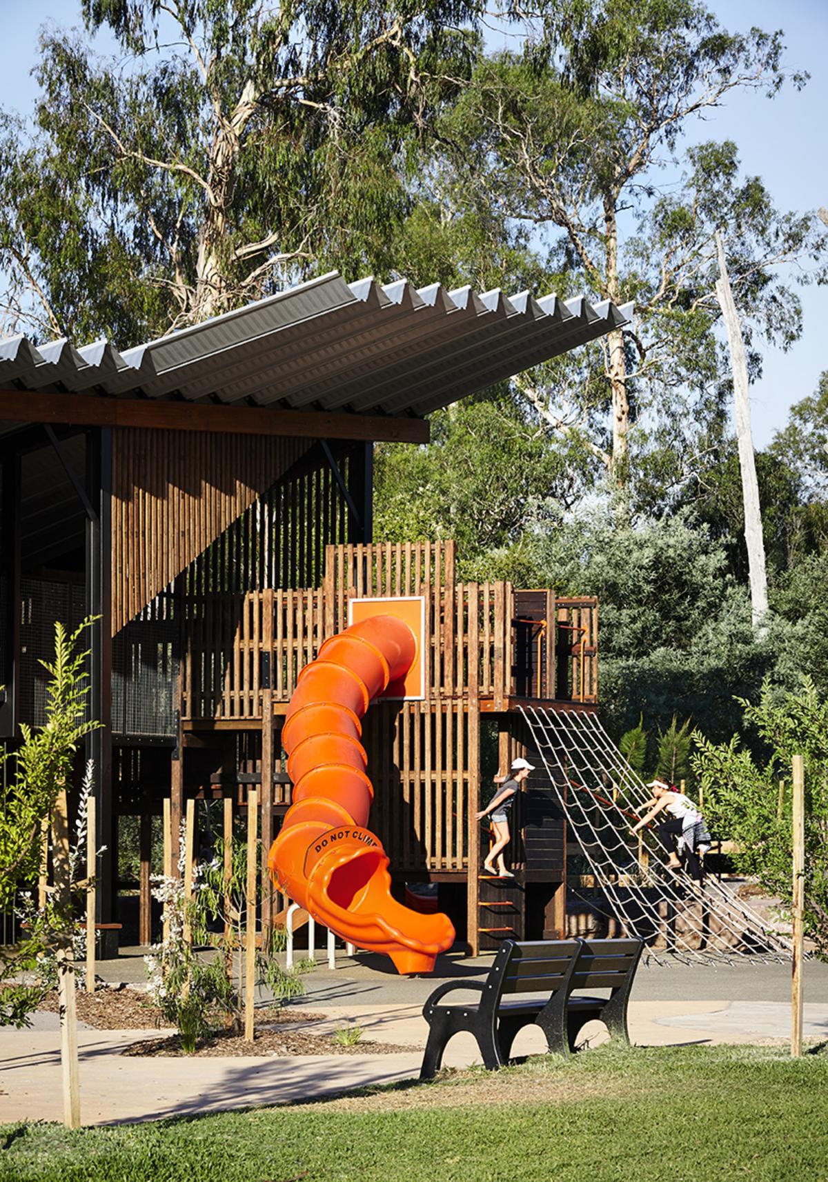 Playground design with slide